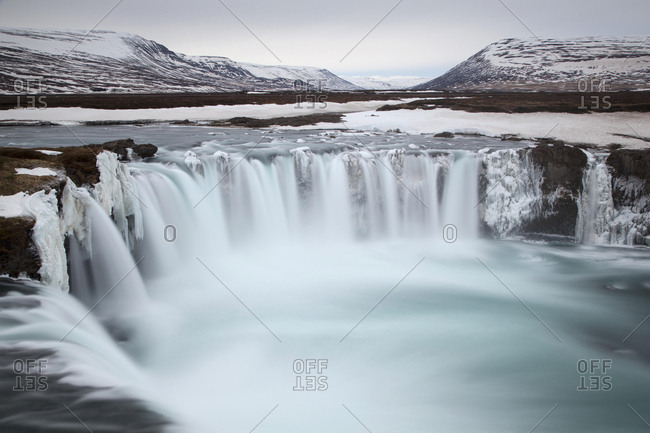 Godafoss waterfall in winter in Fossholl, Southern Region, Island