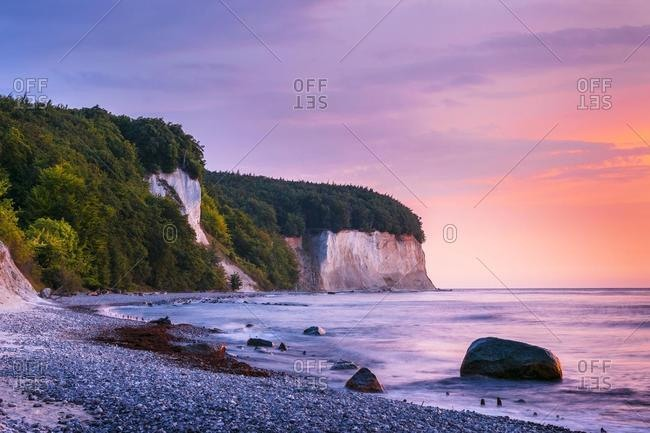Kreidekuste at sunrise, Jasmund National Park, Jasmund peninsula, Rugen Island, Mecklenburg Vorpommern, Germany, Europe