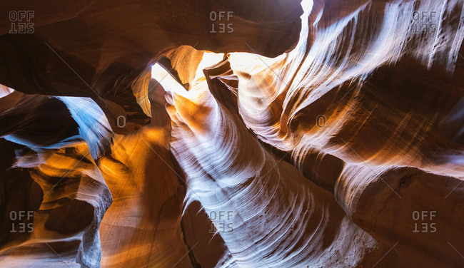 Sandstone formations, light, eroded rock in Slot Canyon, Upper Antelope Canyon, Page, Navajo Nation, Arizona, USA, North America