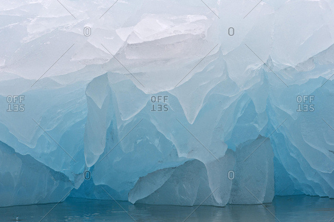 Detailed view of the ice, Monacobreen glacier, Liefdefjorden fjord, Spitsbergen, Svalbard Islands, Svalbard and Jan Mayen, Norway, Europe