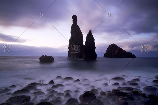 Volcanic rock formation Ilheus da Rib by the cliffs of Ribeira da Janela, Madeira, Portugal, Europe