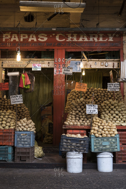 Mexico City - August 29, 2016: Market stall selling potatoes