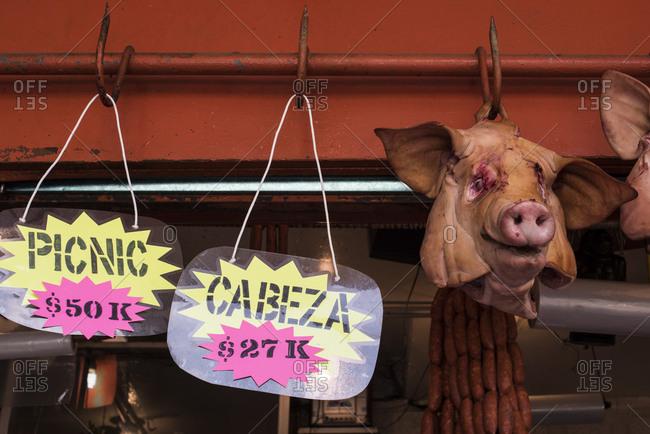 Mexico City - August 29, 2016: Pigs head at La Merced Market