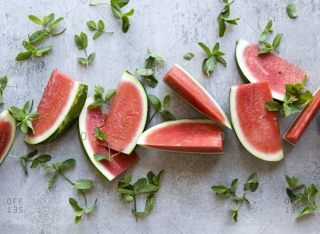Slices of watermelon with fresh mint