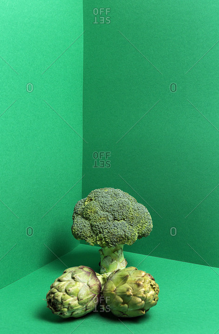 Fresh whole broccoli tree and green artichokes