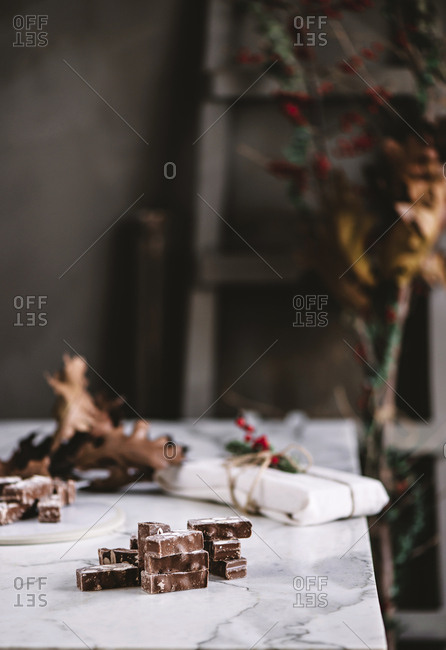 Table with chocolate sweets