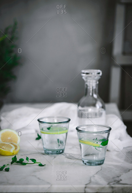 Two glasses of refreshing water