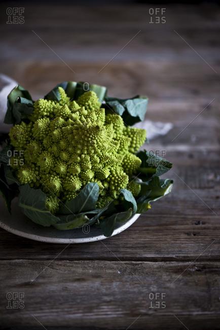 Romanesco vegetable on table