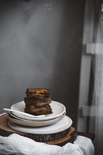 Desserts served on table