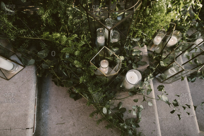Candles and greenery on stairs