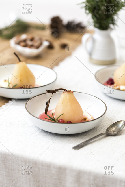 Cranberry Poached Pears with mascarpone cheese dessert