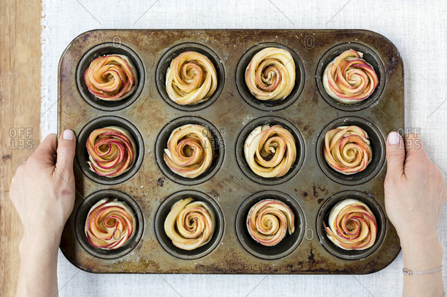 Apple Roses in muffin tin