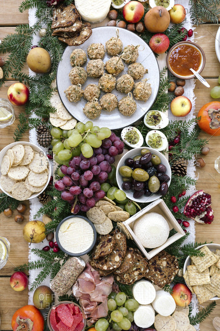 Holiday cheese and savory sharing selection
