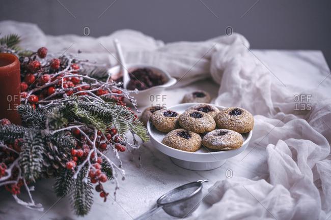 Spelt thumbprint cherry jam cookies