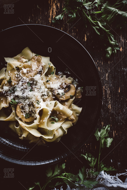 Mushroom stroganoff made with homemade pappardelle pasta