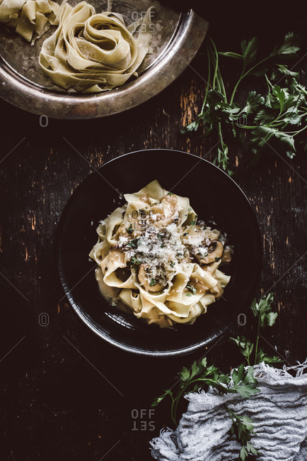 Mushroom stroganoff with freshly made pappardelle pasta