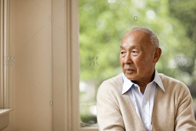 Portrait of senior man looking worried