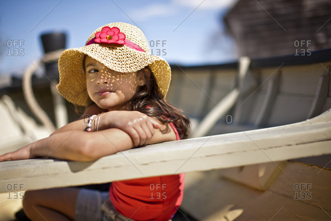 Young girl sitting in boat