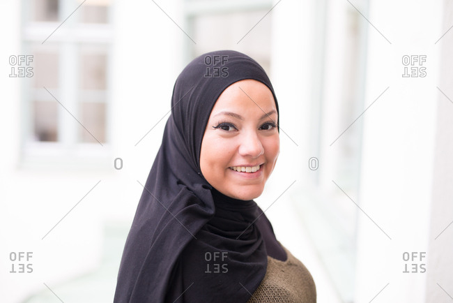 Portrait of young woman wearing a hijab