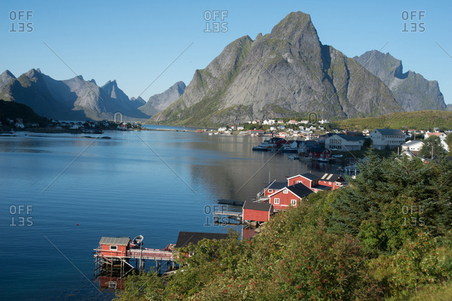 Lofoten Islands, Nordland, Norway, Scandinavia, Europe - September 7, 2017: View over Reine Harbour, Lofoten Islands, Nordland, Norway, Scandinavia, Europe