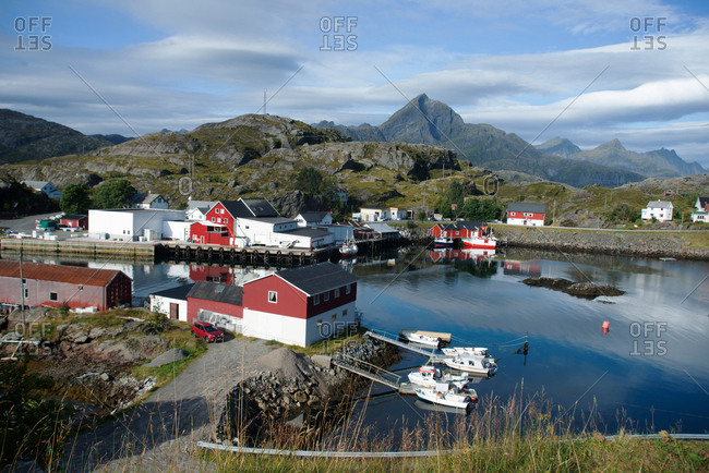Lofoten Islands, Nordland, Norway, Scandinavia, Europe - September 7, 2017: View of Sund Harbour, Lofoten Islands, Nordland, Norway, Scandinavia, Europe
