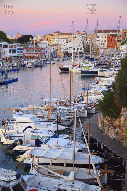 Ciutadella, Menorca, Balearic Islands, Spain, Mediterranean, Europe - September 28, 2017: Historic old harbor, Ciutadella, Menorca, Balearic Islands, Spain, Mediterranean, Europe