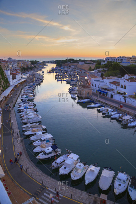 Ciutadella, Menorca, Balearic Islands, Spain, Mediterranean, Europe - September 29, 2017: Historic old harbor, Ciutadella, Menorca, Balearic Islands, Spain, Mediterranean, Europe