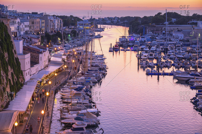 Ciutadella, Menorca, Balearic Islands, Spain, Mediterranean, Europe - September 29, 2017: Historic old harbour, Ciutadella, Menorca, Balearic Islands, Spain, Mediterranean, Europe
