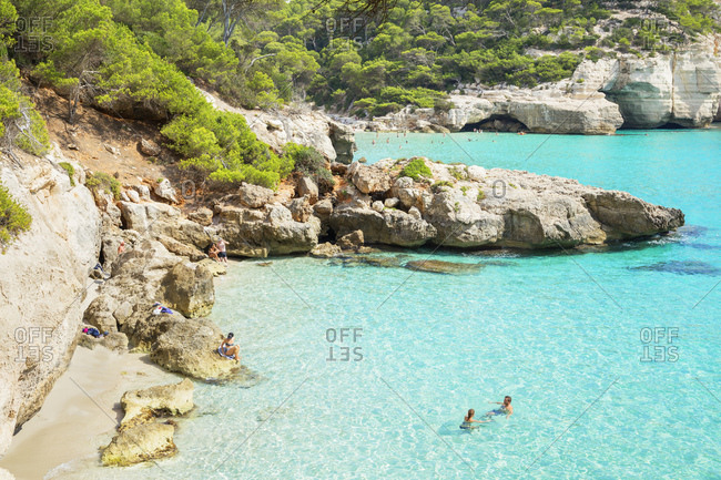 Menorca, Balearic Islands, Spain, Mediterranean, Europe - September 30, 2017: View of Cala Mitjana, Menorca, Balearic Islands, Spain, Mediterranean, Europe