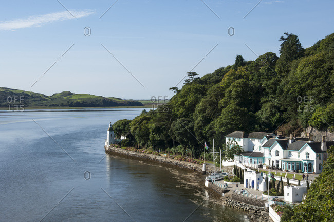 Harbourside, Estuary, Gwynedd, Wales, United Kingdom, Europe - September 19, 2017: Portmeirion, Harbourside, Estuary, Gwynedd, Wales. United Kingdom, Europe