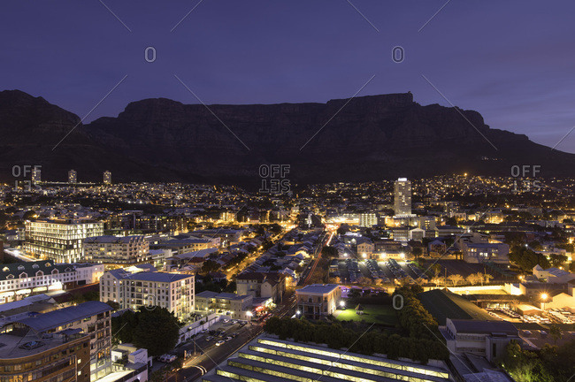 Cape Town, Western Cape, South Africa, Africa - July 2, 2017: View of Table Mountain at dusk, Cape Town, Western Cape, South Africa, Africa