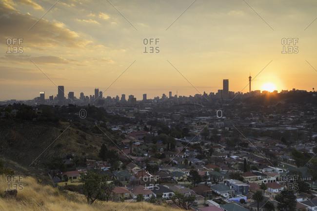 Johannesburg, Gauteng, South Africa, Africa - August 10, 2017: View of skyline at sunset, Johannesburg, Gauteng, South Africa, Africa