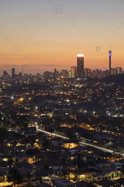 Johannesburg, Gauteng, South Africa, africa - August 11, 2017: View of skyline at sunset, Johannesburg, Gauteng, South Africa, africa