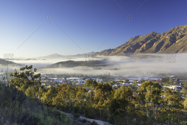 Western Cape, South Africa, Africa - July 23, 2017: View of mist over Montagu at dawn, Western Cape, South Africa, Africa
