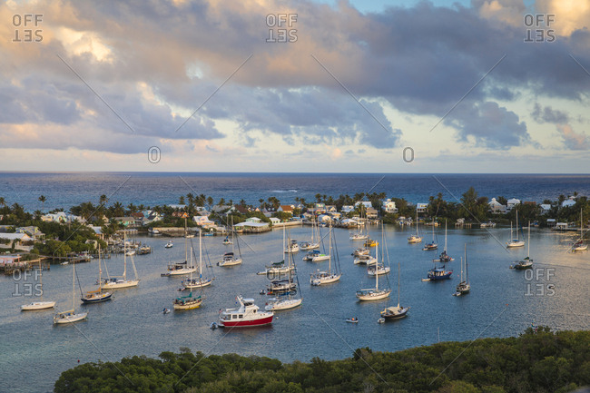 Hope Town, Elbow Cay, Abaco Islands, Bahamas, West Indies, Central America - February 7, 2017: Harbour
