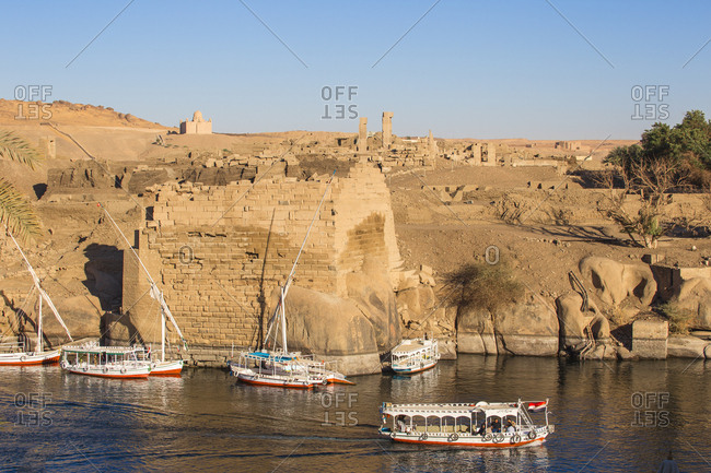 Aswan, Upper Egypt, Egypt, North Africa, Africa - March 20, 2017: View towards Khnum ruins on Elephantine Island