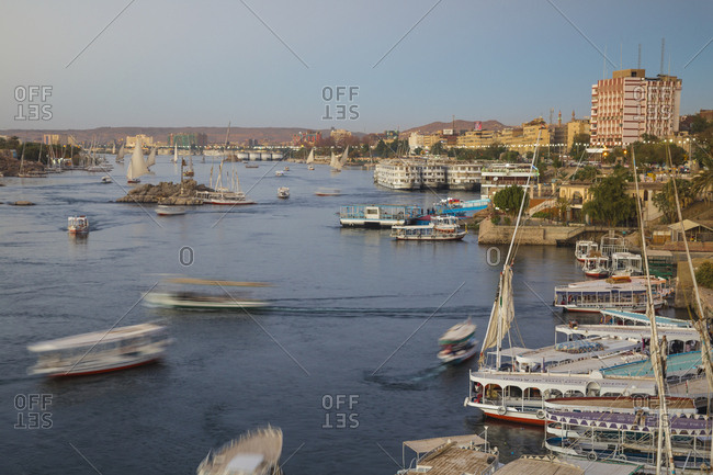 Aswan, Upper Egypt, Egypt, North Africa, Africa - March 16, 2017: View of Aswan and River Nile