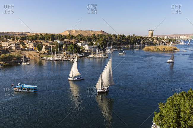 Aswan, Upper Egypt, Egypt, North Africa, Africa - March 16, 2017: View of The River Nile and Nubian village on Elephantine Island
