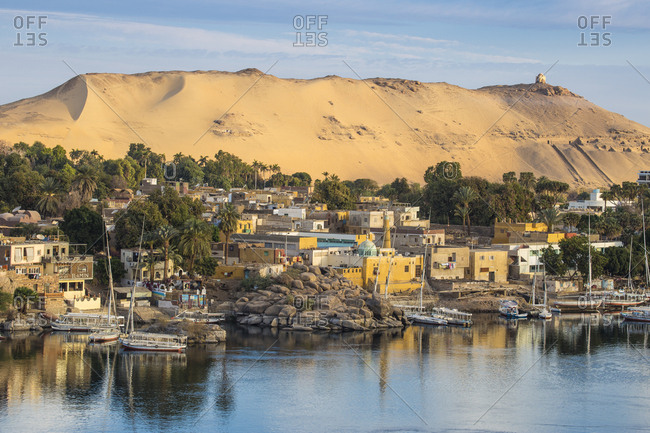 Aswan, Upper Egypt, Egypt, North Africa, Africa - March 18, 2017: View of The River Nile and Nubian village on Elephantine Island