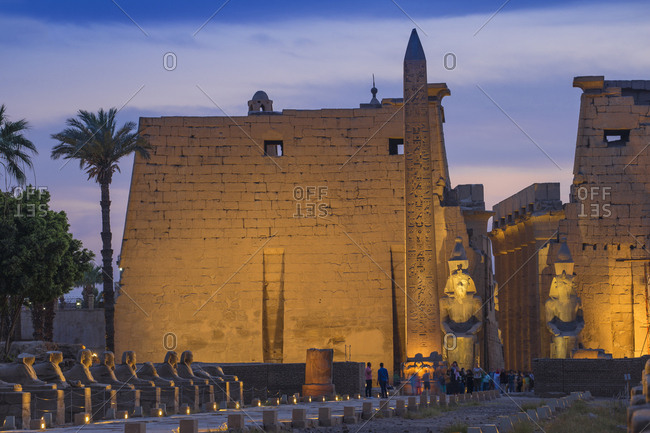Luxor, Egypt, North Africa, Africa - March 27, 2017: Avenue of Sphinxes, Luxor Temple, UNESCO World Heritage Site