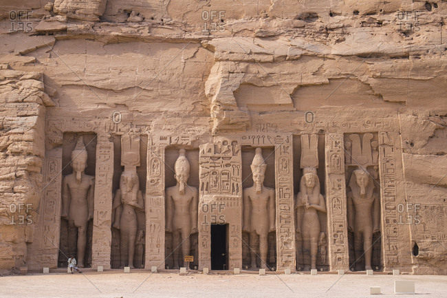 Egypt, North Africa, Africa - March 14, 2017: The small temple, dedicated to Nefertari and adorned with statues of the King and Queen, Abu Simbel, UNESCO World Heritage Site