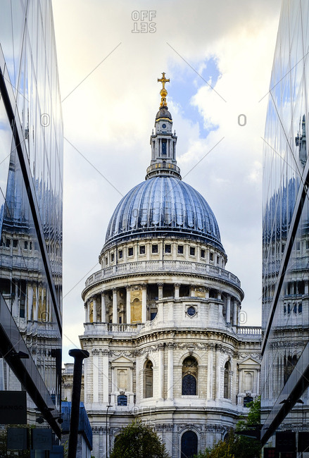London, England, United Kingdom, Europe - October 5, 2017: St. Paul's Cathedral, from One New Change, City of London