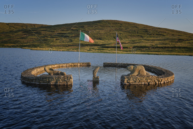 Arranmore Island, County Donegal, Ulster, Republic of Ireland, Europe - July 17, 2017: Beaver Island Memorial