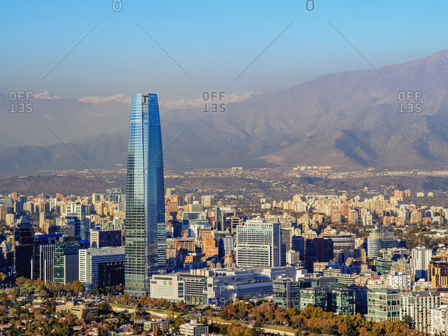 Santiago, Chile, South America - April 28, 2017: Providencia with Gran Torre Santiago seen from the Metropolitan Park