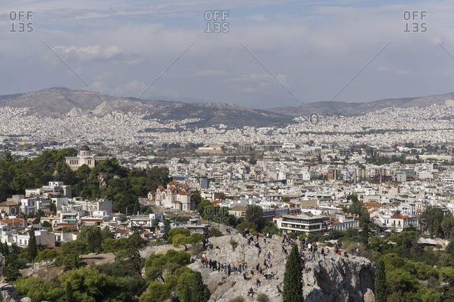 Athens, Greece, Europe - October 28, 2017: Areopagus Hill (Mars Hill), Ancient Supreme Court, view from Acropolis Hill