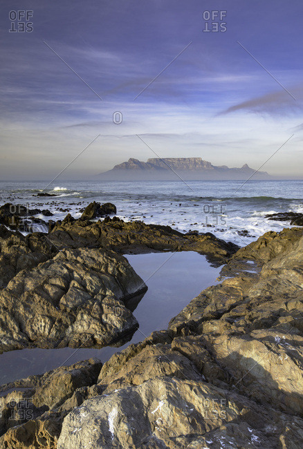 View of Table Mountain from Bloubergstrand, Cape Town, Western Cape, South Africa, Africa