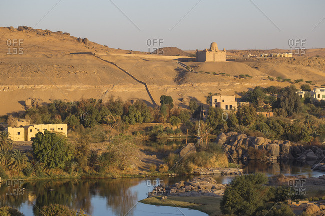 View of The River Nile and The Mausoleum of Aga Khan on the West Bank, Aswan, Upper Egypt, Egypt, North Africa, Africa