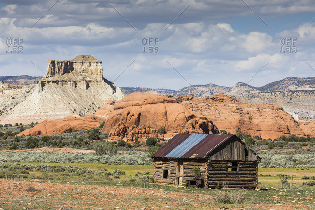 Red rock sandstone and old cabin just outside Kodachrome Basin State Park, Utah, United States of America, North America