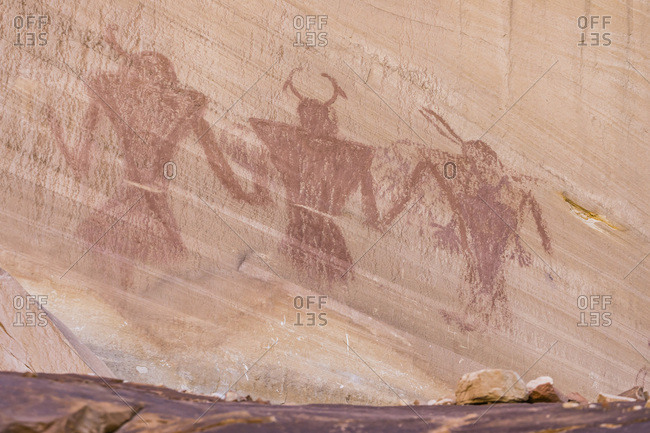 Native Pueblo rock art, Lower Calf Creek Falls Trail, Grand Staircase-Escalante National Monument, Utah, United States of America, North America