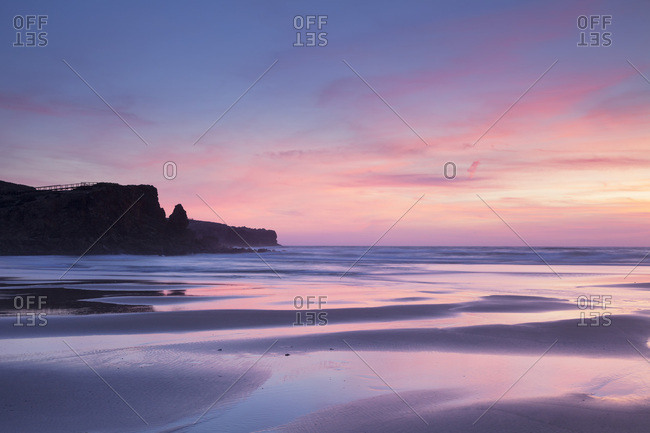 Praia da Borderia beach at sunset, Carrapateira, Costa Vicentina, west coast, Algarve, Portugal, Europe